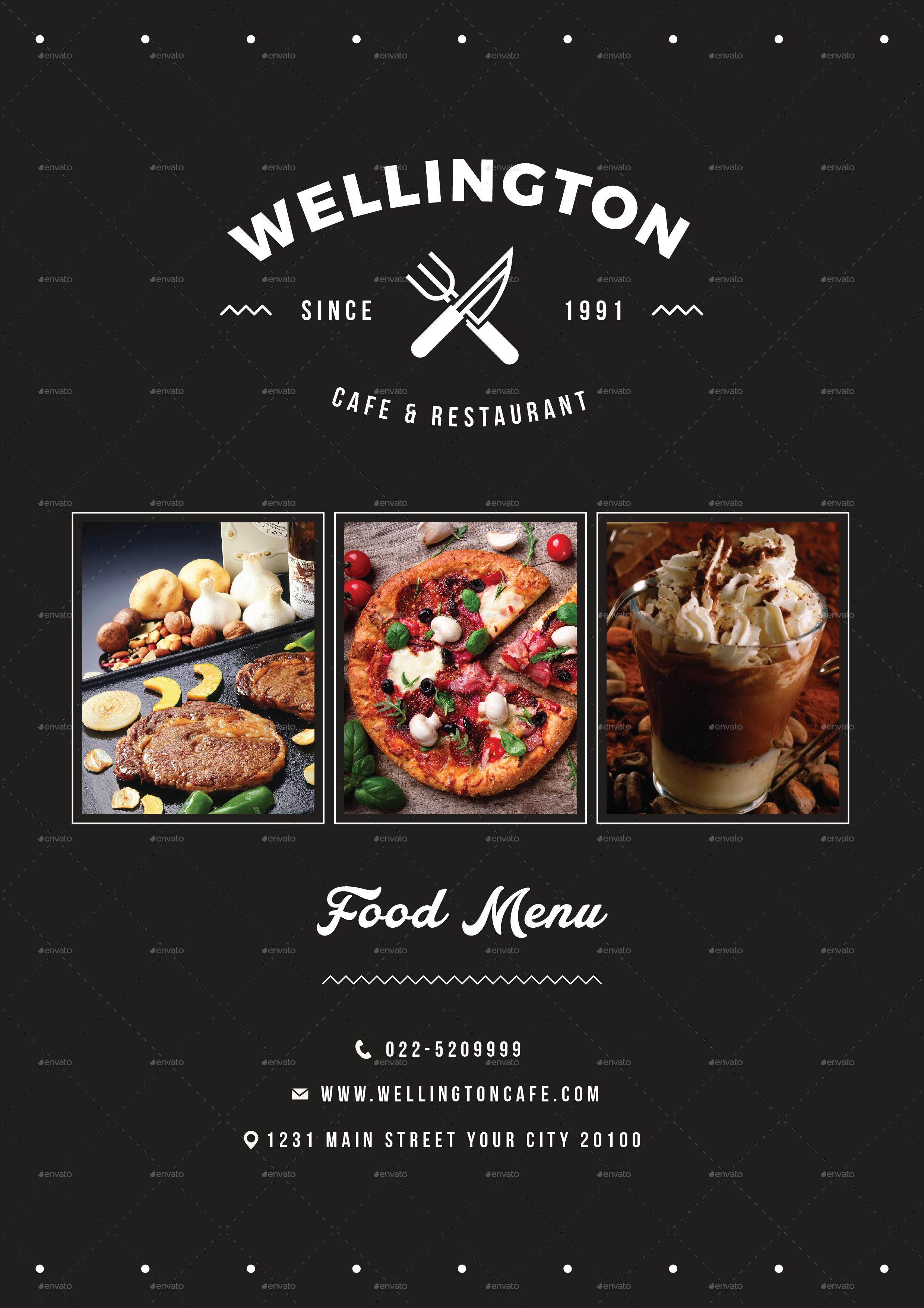 simple minimalis restaurant food menu package by vynetta
