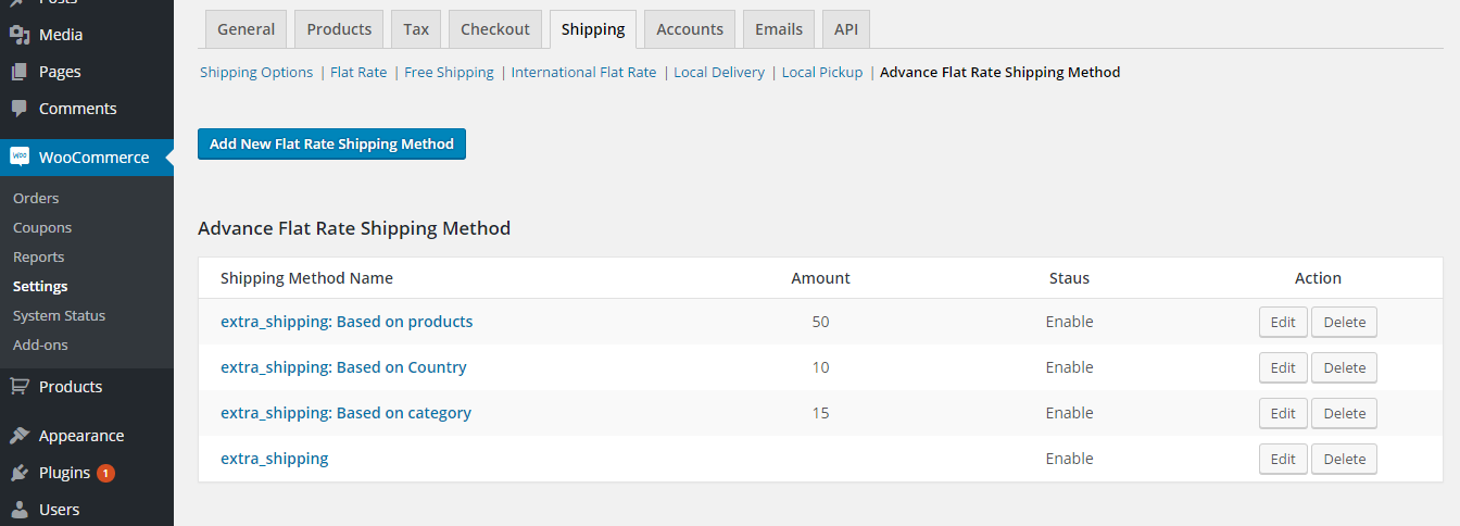woocommerce how to add shipping methods