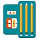 School supplies flat color design vector icons