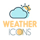 Flat Thin Line Weather Icons Set