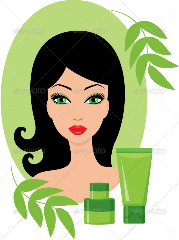 GraphicRiver Beautiful young woman with a cosmetics set 1585499