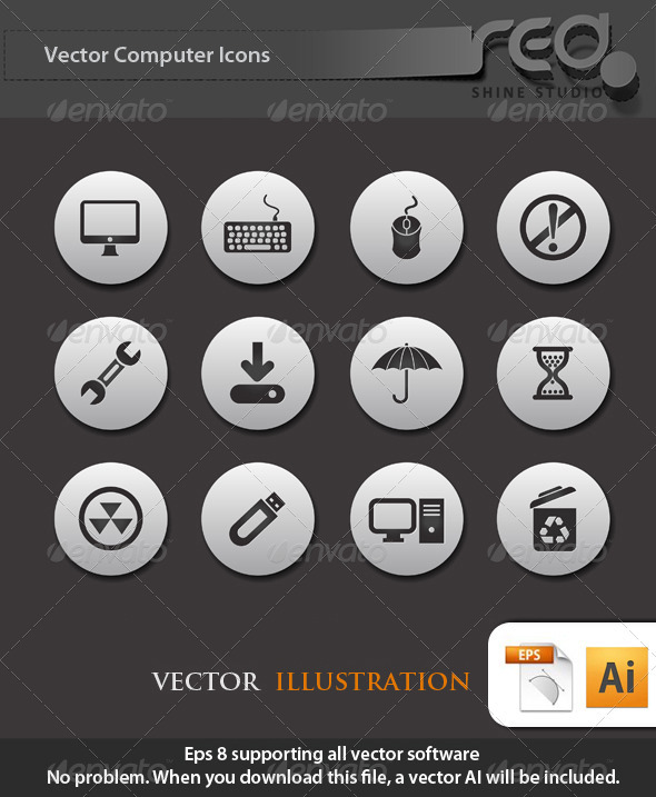 GraphicRiver Computer Icon Vector Pack 1585526