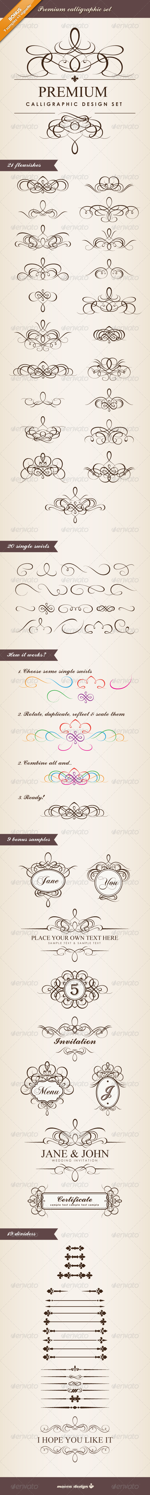 Premium Calligraphic Design Set - Flourishes / Swirls Decorative