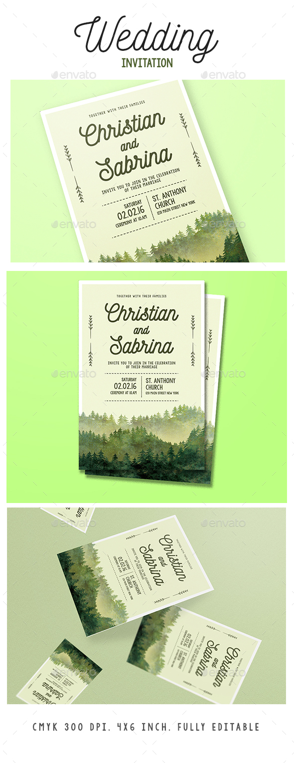 Watercolor Forest Wedding Invitation