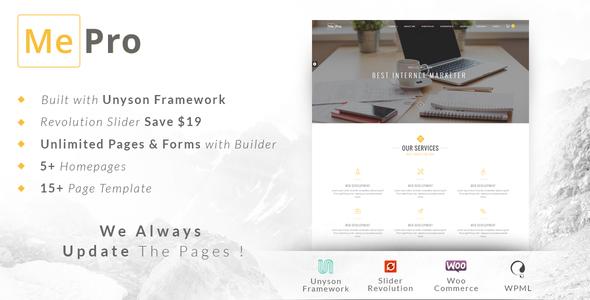 MePro - Creative Portfolio & Multi Purpose WordPress Theme