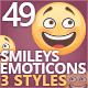 49 Cute Emoticons Set