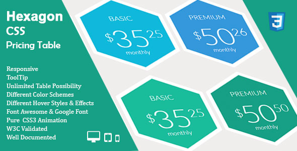 Hexagon CSS Pricing Table - CodeCanyon Item for Sale