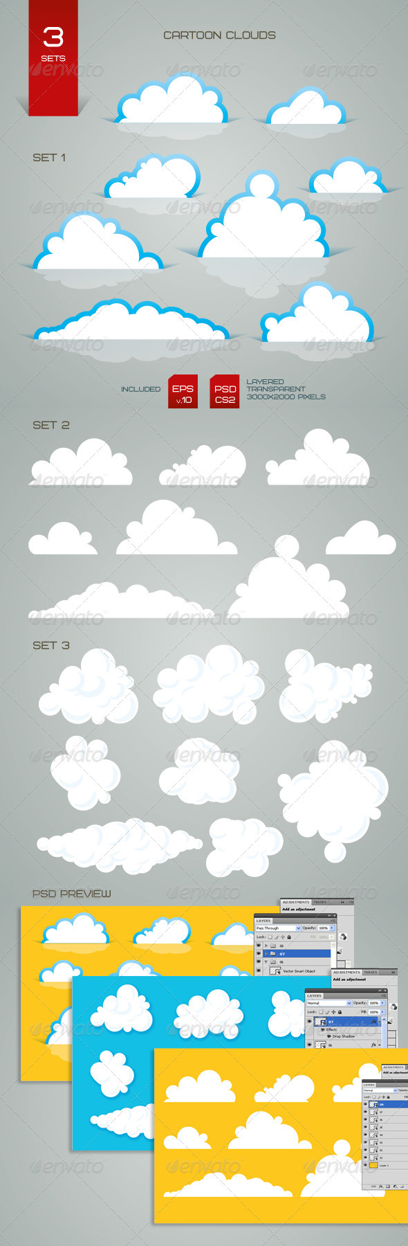 GraphicRiver Cartoon Clouds 1585989