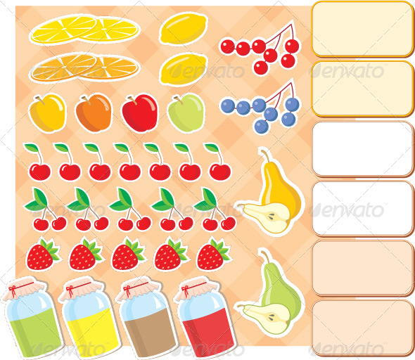 Scrapbook elements with fruits and jam.