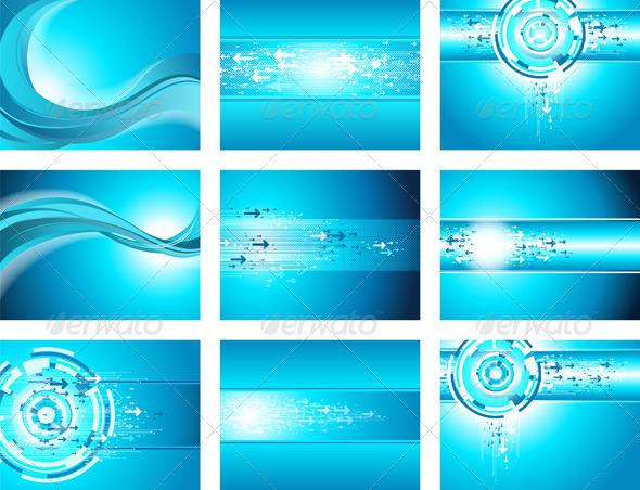 GraphicRiver Site Blue Wave and Arrows Background collection 1586341