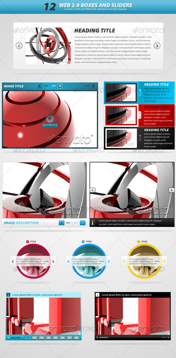 GraphicRiver Web 2.0 boxes and sliders 62195
