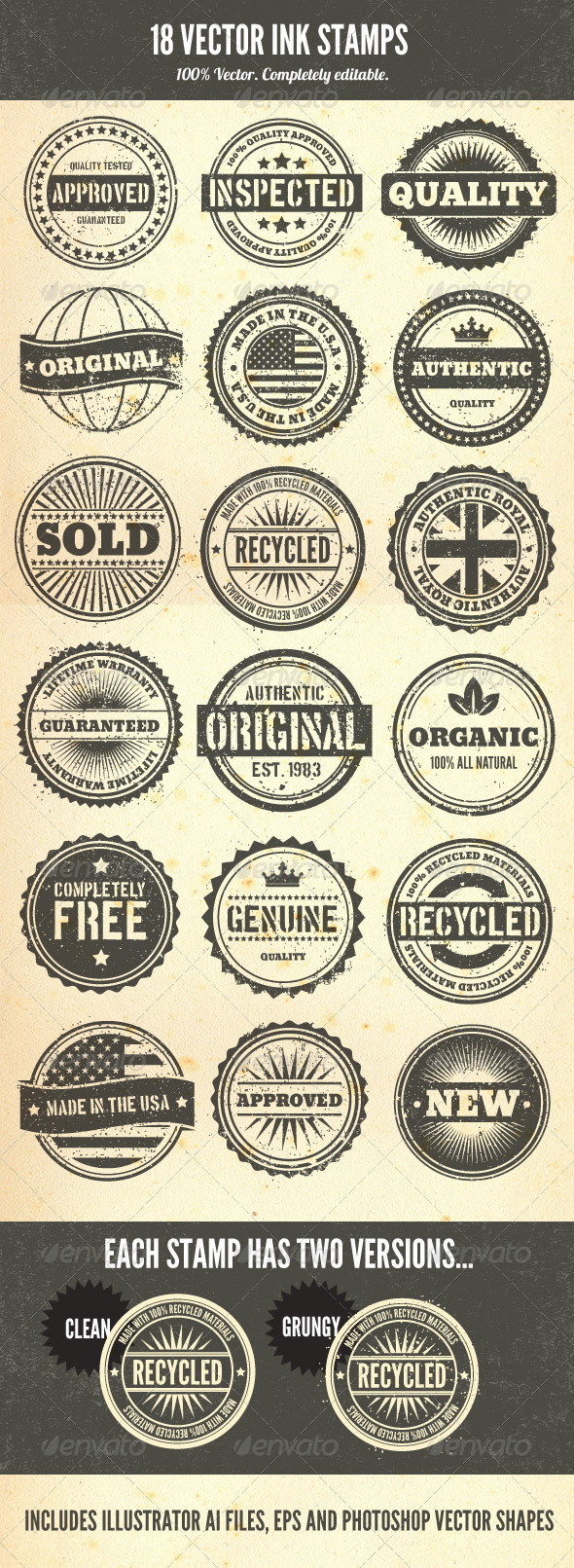 of vectors includes 18 unique rubber stamp style badges. Each stamp ...