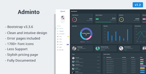 13. Adminto - Responsive Admin Dashboard