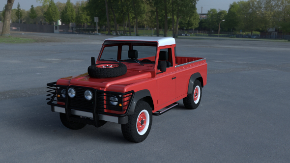 Land Rover Defender 110 Pick Up w interior HDRI - 3DOcean Item for Sale
