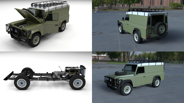 Land Rover Defender 110 Hard Top w chassis and interior HDRI - 3DOcean Item for Sale