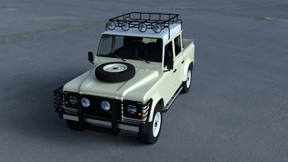 Land Rover Defender 110 Double Cab Pick Up w interior HDRI - 3DOcean Item for Sale