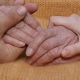 A Young Man's And Woman's Hands Comforting a Old Pair Of Hands Of Grandmother Outdoor.