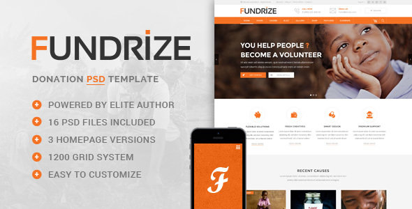 Fundrize - Donation / Charity PSD Template
