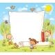 Cartoon Frame With Three Kids Outdoors