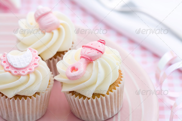 Cupcakes for a baby shower - Stock Photo - Images