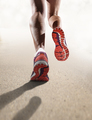 rear view close up strong athletic female legs running shoes sport woman jogging