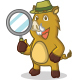 Light Brown Wild Pig Mascot Set