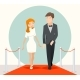 Celebrities Couple Walking On a Red Carpet. Vector