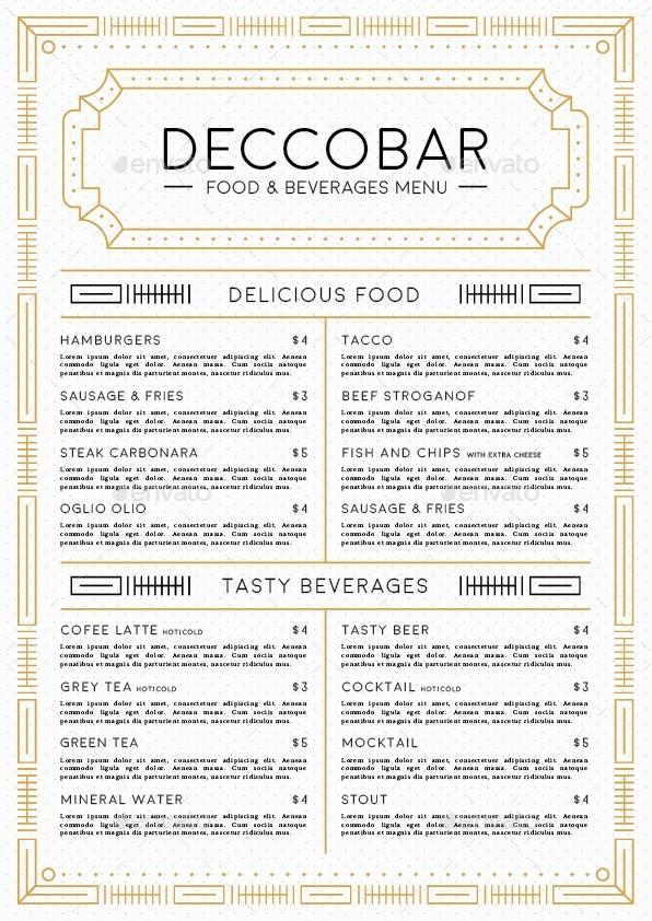 Art deco food beverages menu by dannyaldana graphicriver for Artistic cuisine menu