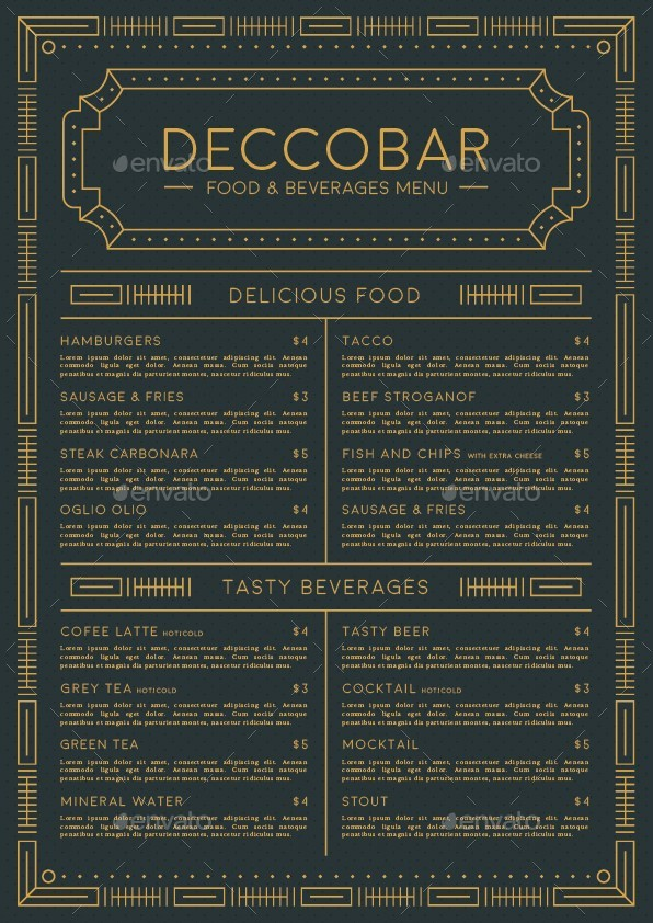Art deco food beverages menu by dannyaldana graphicriver for Artistic cuisine menu