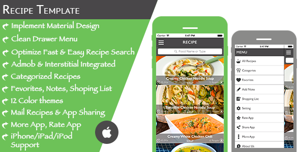 Multi Purpose Recipe Template for iOS - CodeCanyon Item for Sale
