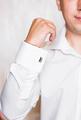 men wear a shirt and cufflinks close-up