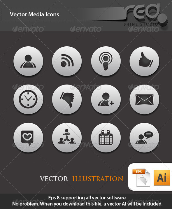 GraphicRiver Social Media Icon Vector Pack 1589877