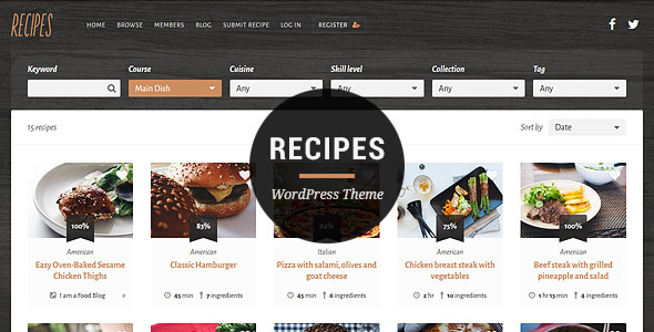 Download Recipes WordPress Theme nulled download