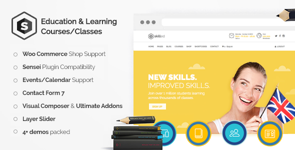Download Skilled - School Education Courses WordPress Theme nulled download