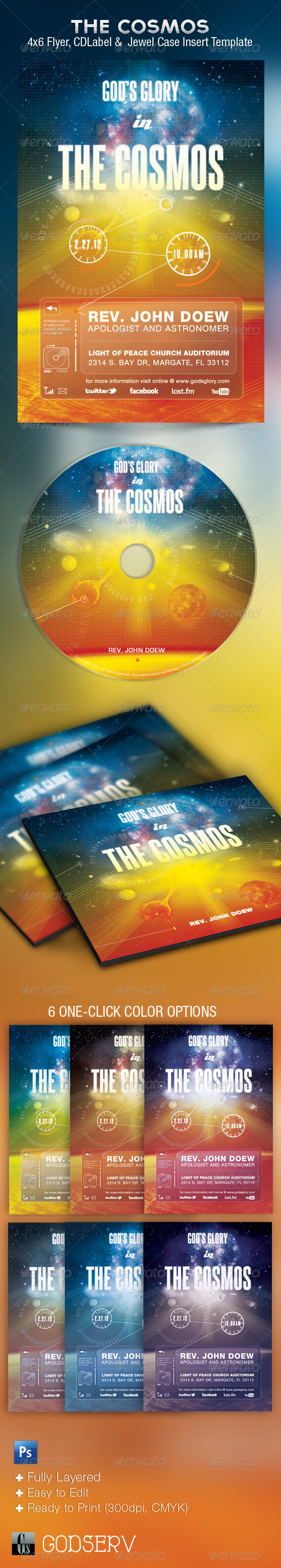 God's Glory In The Cosmos Church Flyer and CD - Church Flyers