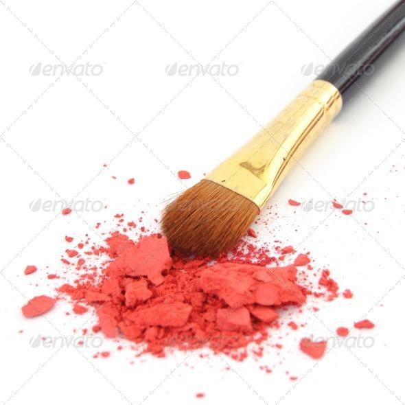 makeup brush and cosmetic powder