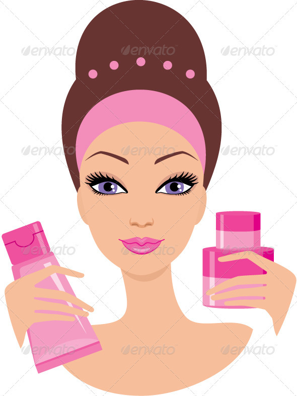 GraphicRiver Beautiful young woman with a cosmetics set 1590496