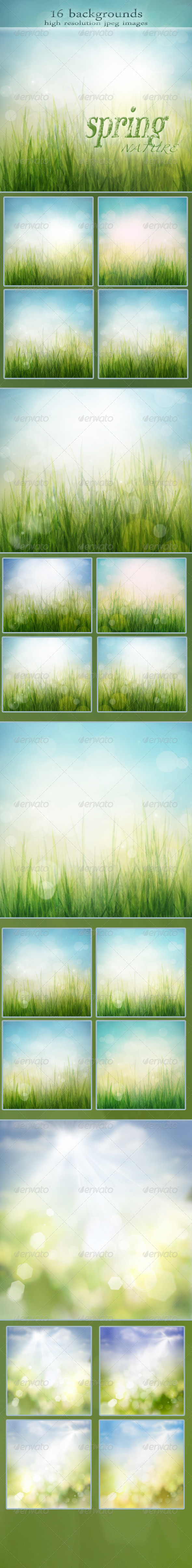 Nature Spring Backgrounds with Bokeh Effect vol.2 - Backgrounds Graphics