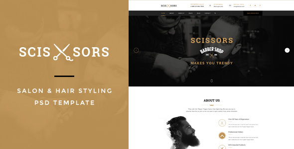 Scissors : Salon & Hair Styling PSD Template