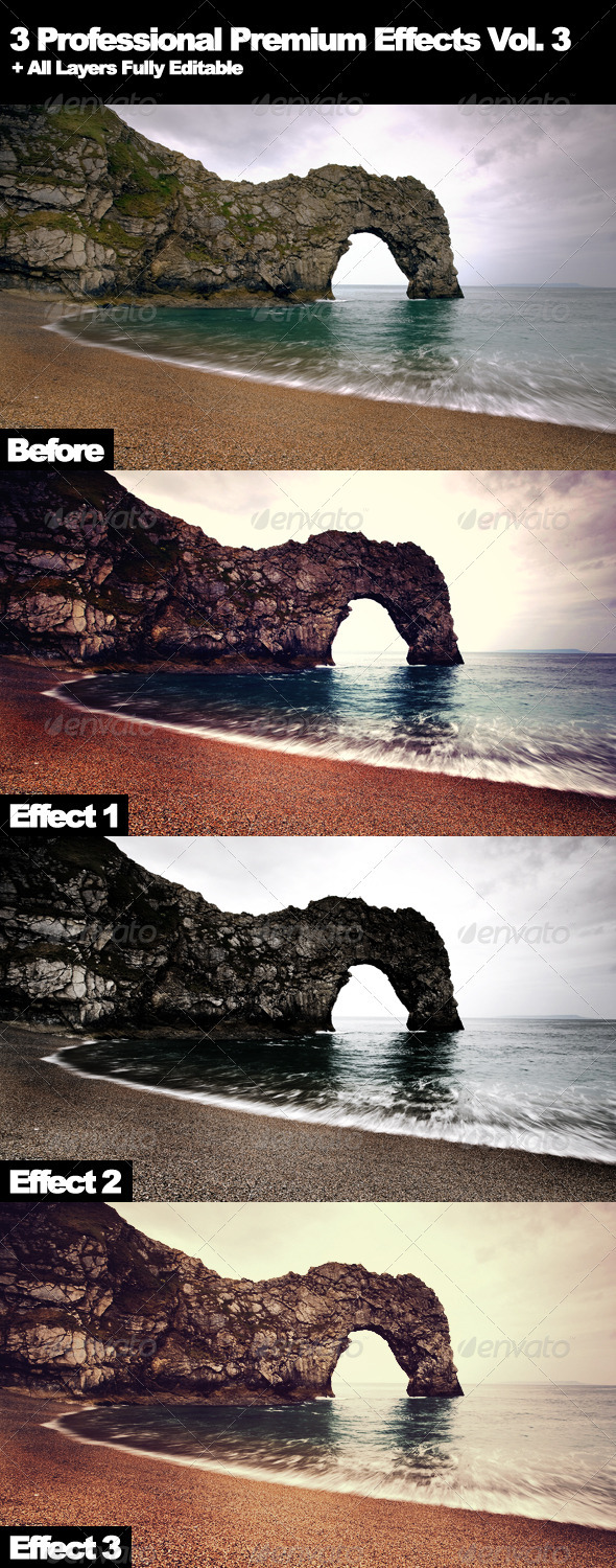 3 Professional Premium Effects Vol. 3 - Photo Effects Actions