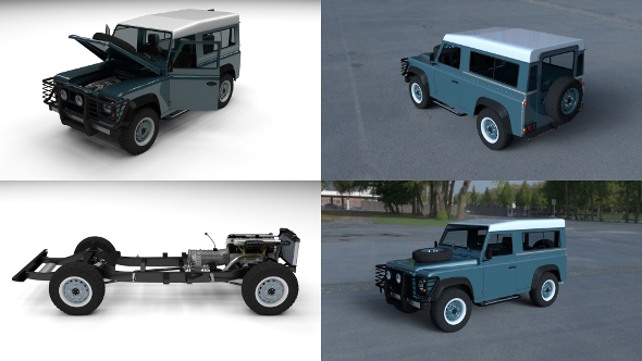 Full Land Rover Defender 90 Station Wagon HDRI - 3DOcean Item for Sale