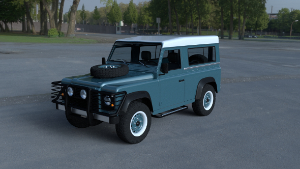 Land Rover Defender 90 Station Wagon w interior HDRI - 3DOcean Item for Sale