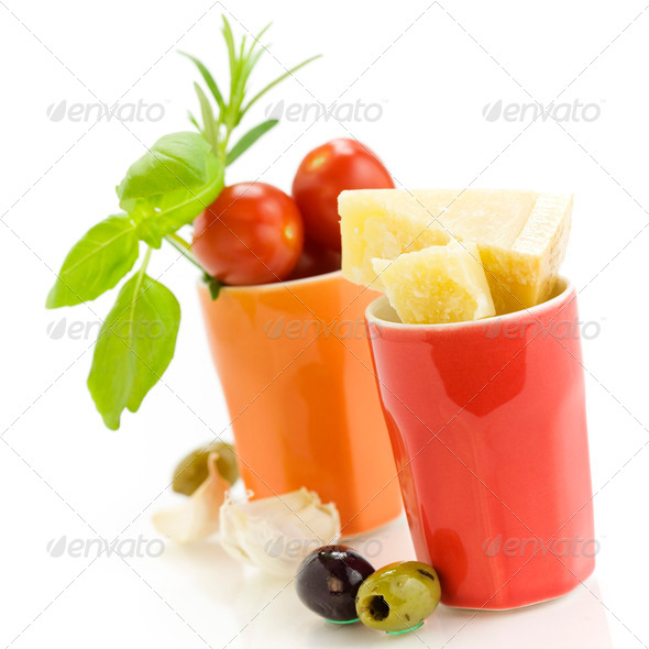 Parmesan, herbs and vegetables - Stock Photo - Images