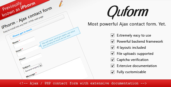 CodeCanyon Quform Simple yet Powerful Ajax contact form 148273