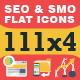 111x4 SEO & SMO Flat Icons