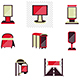 Outdoor Advertising Red Style Flat Vector Icons
