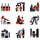 Industrial Plants and Factories Black and Red Flat Vector Icons