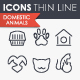 Domestic animals thinline icons