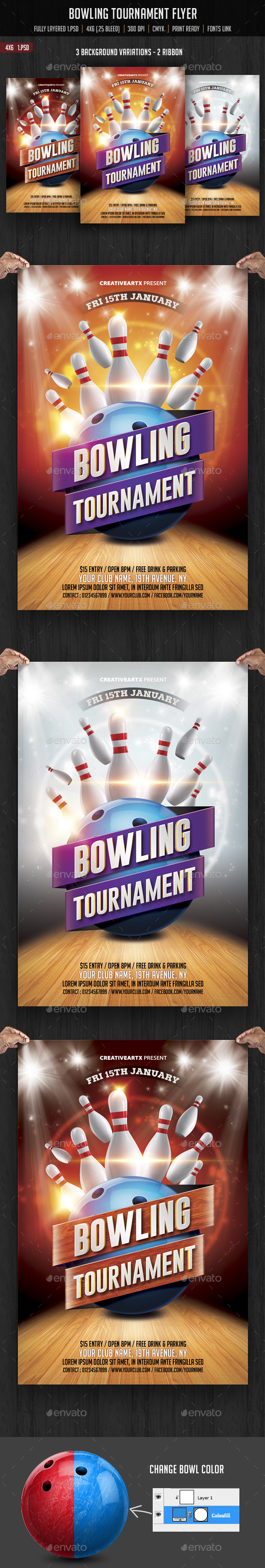 Bowling Flyer Graphics Designs Templates from GraphicRiver – Bowling Flyer Template