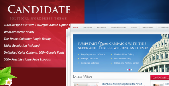 4 - Candidate - Political WordPress Theme